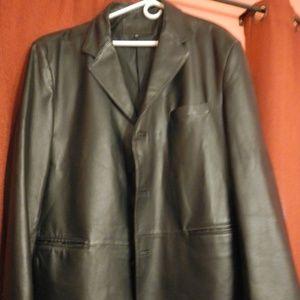 Men's Black leather jacket XXL